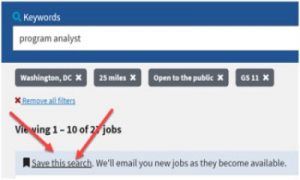 USAJobs Saved Search Feature